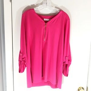 Susan Graver Pink Zip Charm Button Down Sleeve Top